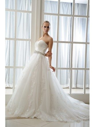 A-Line Sweetheart Court Train Organza Wedding Dress With Beading Appliques Lace