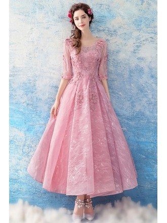 Romantic Sleeves Rose Pink Lace Beading Prom Dress In Madi Length