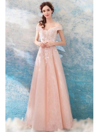 A Line Light Pink Applique Formal Dress With Off Shoulder Straps