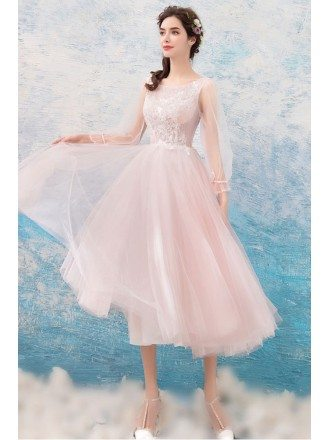 Cute Pink Lace Midi Prom Dress With Long Flare Sleeves