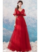 Bright Red Beading Lace Wedding Party Dress With Cape Sleeves