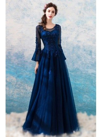 Classic Navy Blue Flare Sleeved Prom Formal Dress With Lace Beading