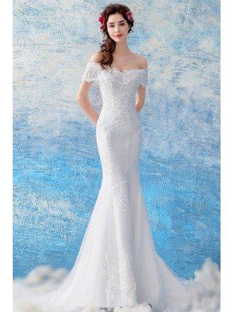 Curvy Off Shoulder Lace Mermaid Wedding Dress With Train