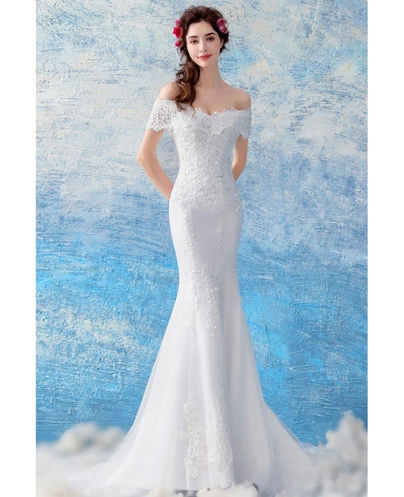 Curvy Off Shoulder Lace Mermaid Wedding Dress With Train