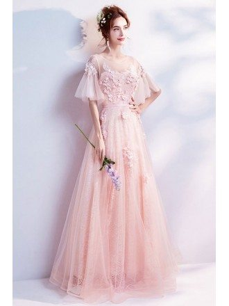 Beautiful Poofy Sleeved Pink Petal Lace Prom Dress In Floor Length