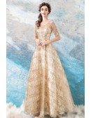 Shiny Gold Sequin Ballroom Prom Formal Dress With Sleeves