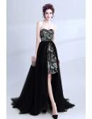 Unique Lace Short Party Dress With Detachable Long Tulle Skirt