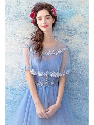 Beautiful Blue Tulle Long A Line Prom Dress With Special Lace Cape