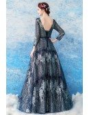 Unique Sparkly Blue Sequin Formal Party Dress With Sleeves
