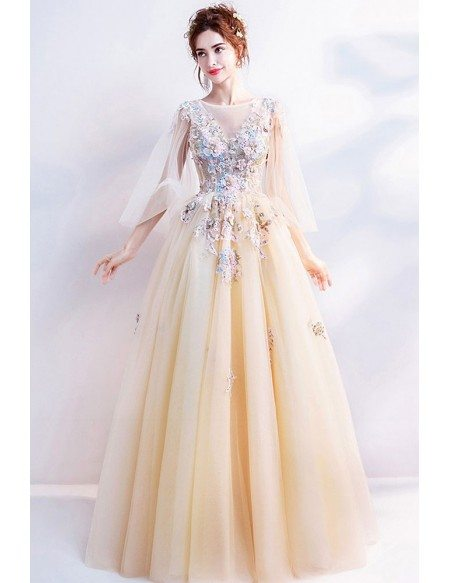 Romantic Flower Yellow Long Prom Dress With Cape Sleeves