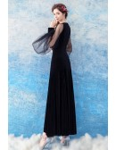 Sexy Slim Black Long Satin Prom Dress With Puffy Sleeves