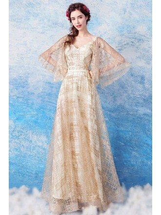 Glittering Gold Sequin V Neck Prom Formal Dress With Butterfly Sleeves
