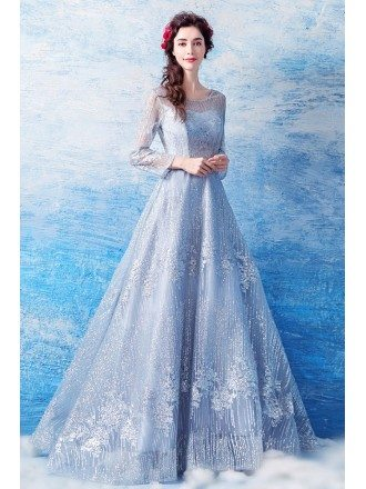 Twinkling Silver V Neck Prom Party Dress With Butterfly Sleeves