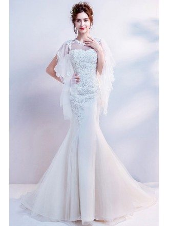 Wholesale Lace Beading Mermaid Wedding Dress With Fairy Tulle Sleeves