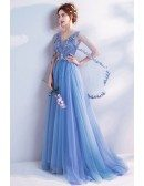 Romantic Floral Blue V Neck Prom Dress In Cape Style