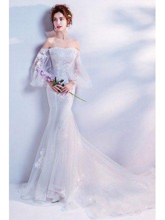 Stylish Mermaid Flower Wedding Dress With Off Shoulder Bell Sleeves