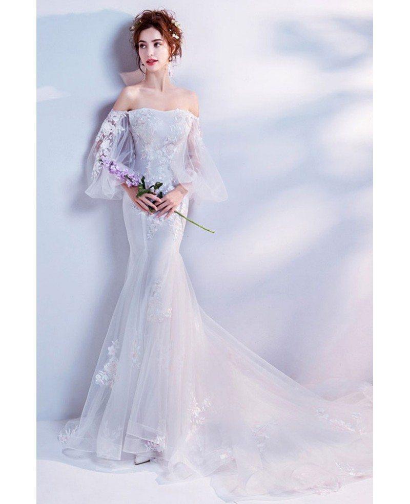 Stylish Mermaid Flower Wedding Dress With Off Shoulder