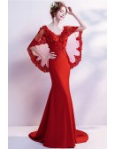 Sexy Tight Mermaid Red Wedding Party Dress With Butterfly Sleeves