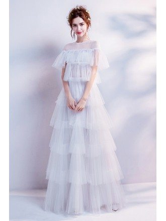 Modern Tiered Tulle Informal Bridal Dress For Outdoor Wedding