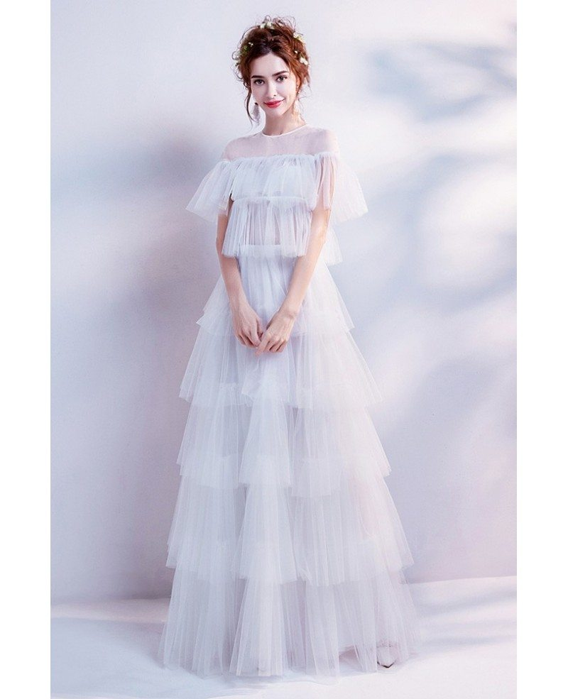 Modern Tiered Tulle Informal Bridal Dress For Outdoor ...