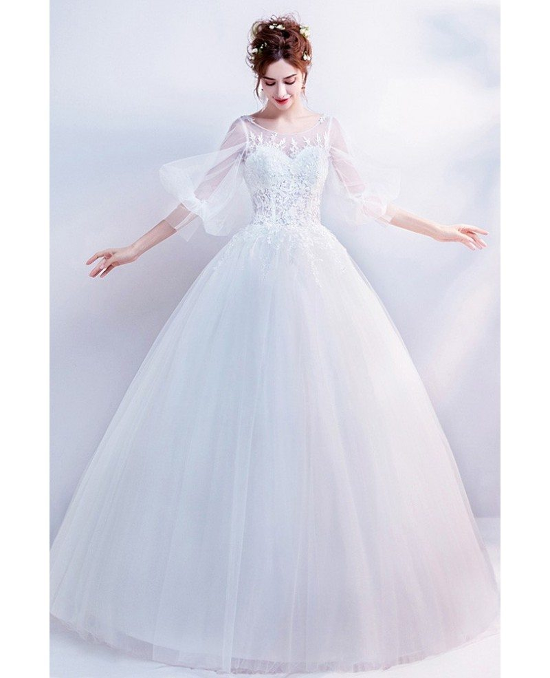 Classic Lace Ball Gown Wedding Dress With Trumpet Sleeves