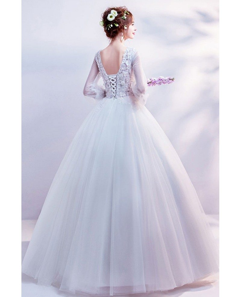 Trumpet Wedding Gowns With Sleeves: Cinderella Floral Ball Gown Wedding Dress With Long
