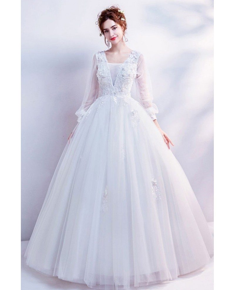 Cinderella Wedding: Cinderella Floral Ball Gown Wedding Dress With Long