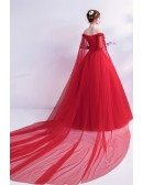 Off Shoulder Lace Flower Red Wedding Formal Dress With Long Sleeves Train
