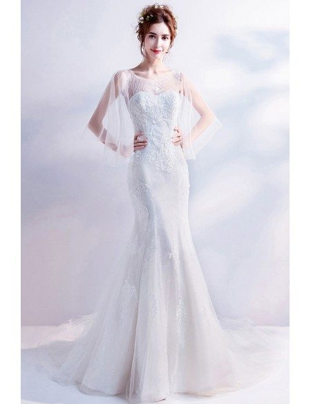 Fitted Mermaid Lace Beaded Wedding Dress Logn Train With Cape Sleeves