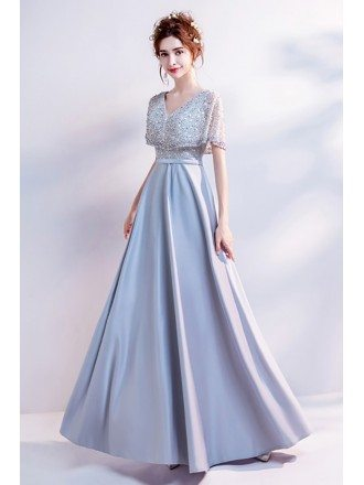Simple Long Grey Satin Prom Dress With Beading Cape Sleeves