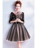 V Neck Black Lace Short Party Dress With 1/2 Sleeves
