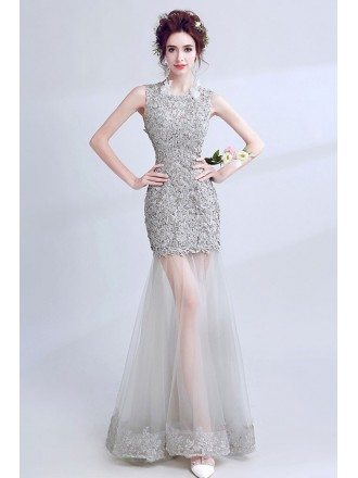Fit And Flare Grey Sheath Lace Prom Dress With Tulle Skirt