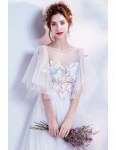 Elegant Long White Formal Prom Dress With Butterfly Sleeves