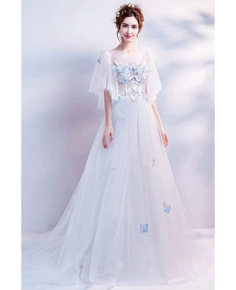 Elegant Long White Formal Prom Dress With Butterfly Sleeves Wholesale T69347 Gemgrace Com
