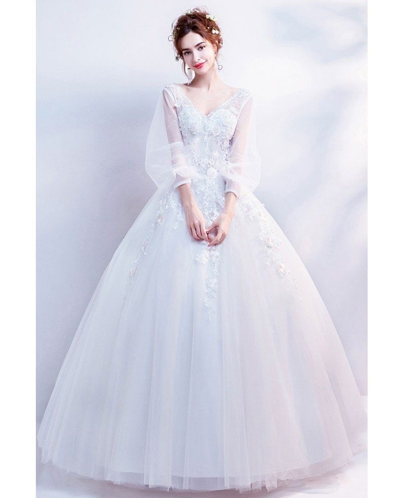 Flare Sleeves Ballgown Floral Wedding Dress 2019 In Wholesale Price Wholesale T69348 Gemgrace Com