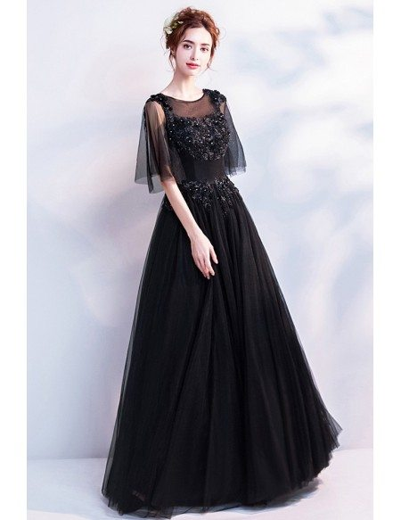 Classic Black Long Tulle Prom Dress With Flare Sleeves