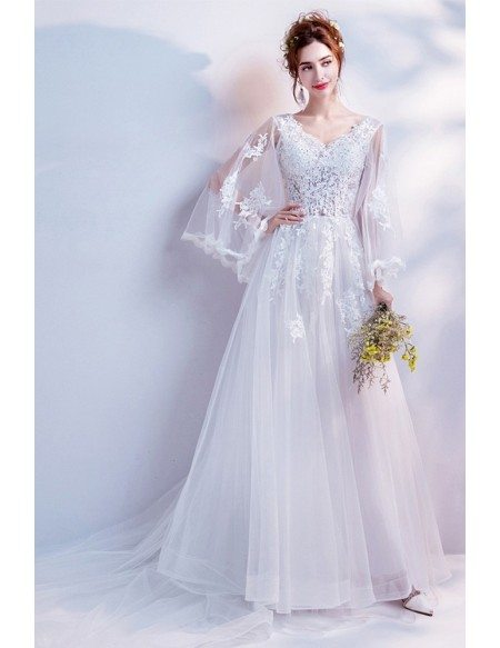 2019 Princess Long Train Lace Beach Wedding Dress With Cape Sleeves