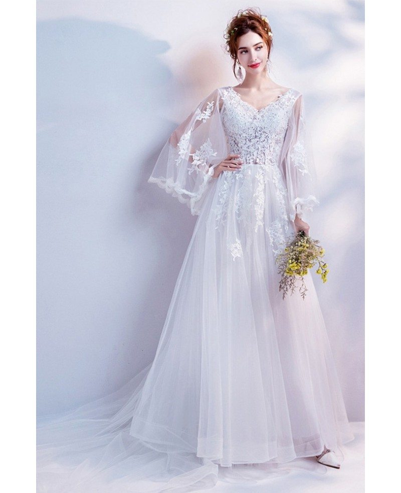 2019 Princess Long Train Lace Beach Wedding Dress With Cape Sleeves Whole T69351 Gemgrace