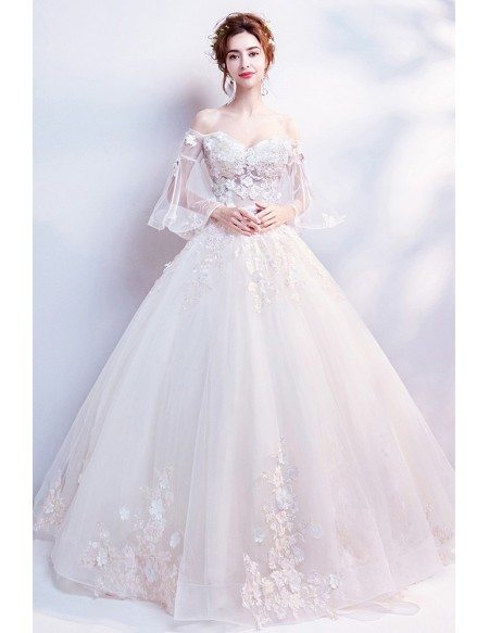 Off Shoulder Flare Sleeves Ballgown Wedding Dress With Applique Flowers