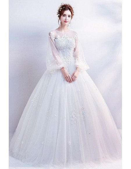 Bubble Sleeves Ballgown Tulle Wedding Dress With Flowers