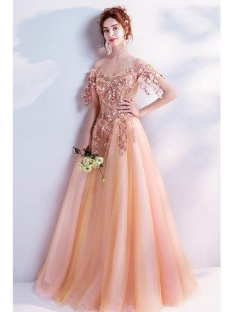 Beautiful Orange Long Formal Prom Dress With Off Shoulder Flower Sleeves