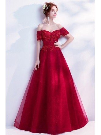 Off Shoulder Long Red Formal Dress With Lace Beading