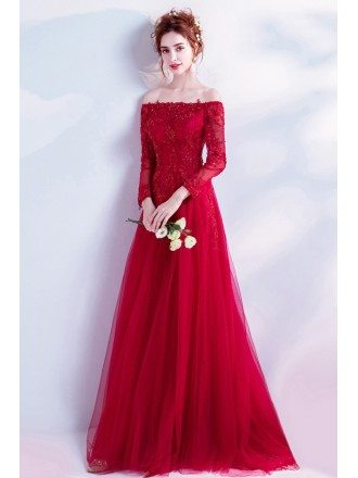 Elegant Long Red Lace Prom Dress With Off Shoulder Long Sleeves