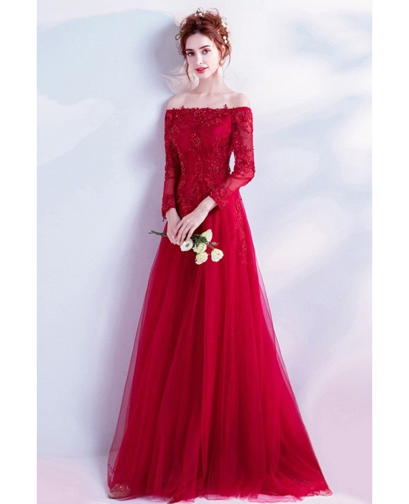 Red And White Lace Prom Dress: Elegant Long Red Lace Prom Dress With Off Shoulder Long