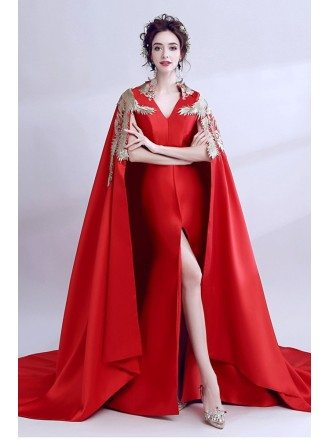 Exaggerated Red Satin Formal Cheongsam Dress In Chinese Style