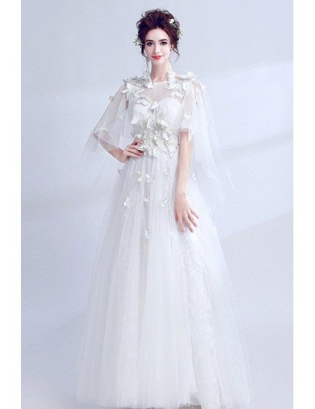 Special Butterfly Sleeve Bridal Dress For 2019 Summer Wedding