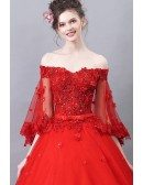 Formal Red Off Shoulder Ballgown Quinceanera Dress With Flare Sleeves