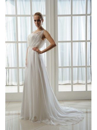 A-Line Strapless Sweep Train Chiffon Wedding Dress With Beading Pleated