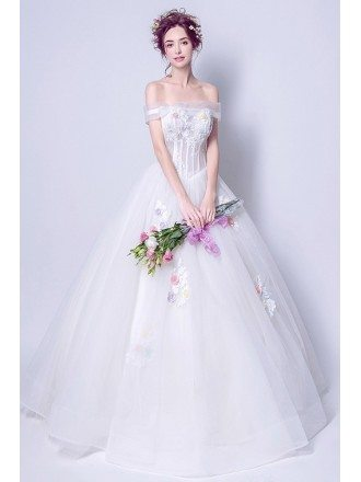 Non Traditional Off Shoulder Bridal Gown With Color Flowers