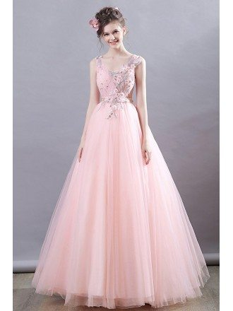 Dreamy Pink Tulle Long Prom Dress With Appliques For Teens